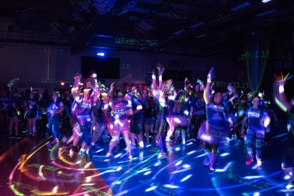 Luther College Dance Marathon in the Regents Center, a 12-hour event that is equal parts rave, inspirational talk, and party.