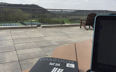 Studying on the deck overlooking the Oneota Valley.