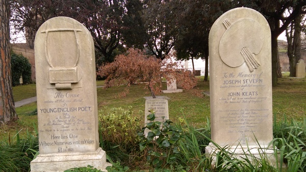"John Keats and Joseph Severn rest directly next to one another in death, just as they were very close in Keats' last few months of life. Such a beautiful story of friendship.<a href=""/reason/images/673534_orig.jpg"" title=""High res"">∝</a>"