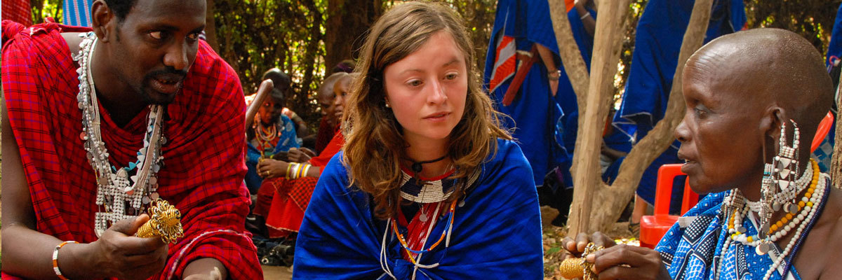 A Luther student interacts with the Maasai people in Tanzania