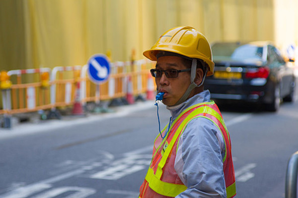 Portrait of a construction worker on the job in Hong Kong.