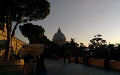 A view of St. Peter's from the courtyard in the Vatican.