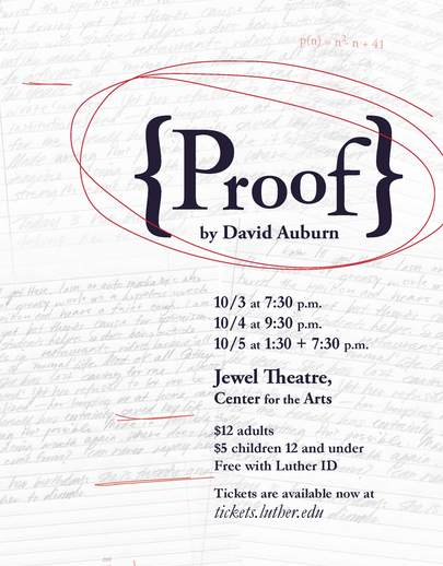 "Poster for the Luther College production of ""Proof"""