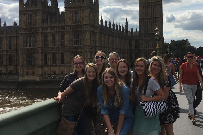 Nursing students in London posing for a group picture.