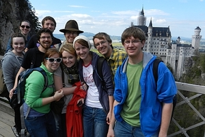 Students in front of Neuschwanstein Castle.