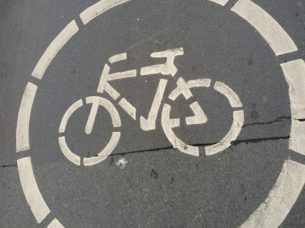 "Photo of the bike lane symbol indicating where the bikers are allowed.<a href=""/reason/images/690561_orig.jpg"" title=""High res"">&prop;</a>"