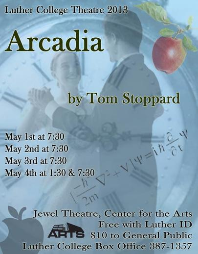 "Poster for the Luther College production of ""Arcadia"""