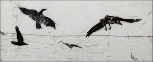 Heidi Goldberg<br /> Crows Above a Field<br /> Intaglio, 2010