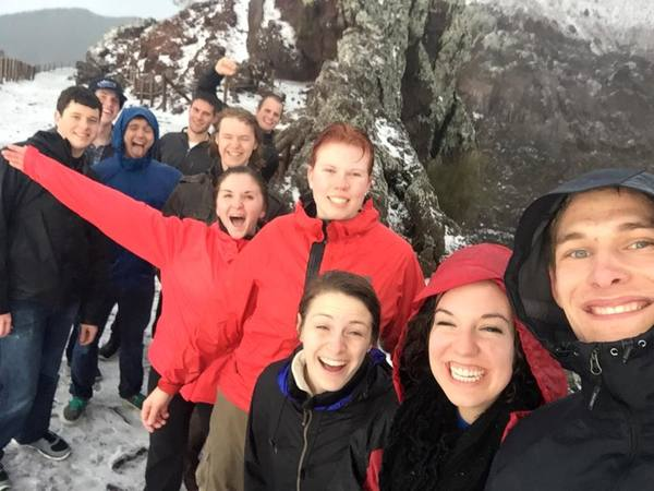 "Triumphant group selfie at the top of the volcano!<a href=""/reason/images/602569_orig.jpg"" title=""High res"">∝</a>"