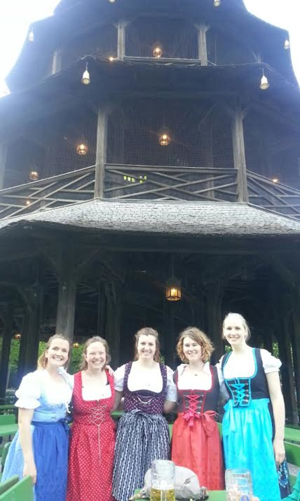 Greta, Julia, Delaney, me, and Laura wearing our newly purchased dirndls at the Englisch Garten! Sometimes you just have to embrace the tourism.