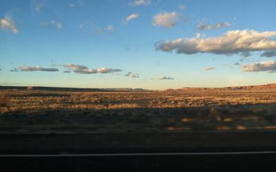 Upon crossing the state line into New Mexico, the snow disappeared and the sun came out, turning today into a beautiful day.