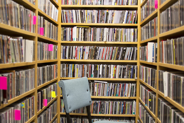 KWLC's collection of music CDs.