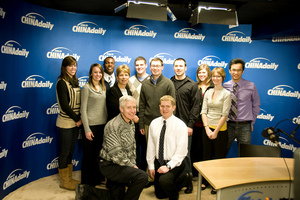 Students visit China Daily Studio while on the study abroad trip Media and Journalism in China.