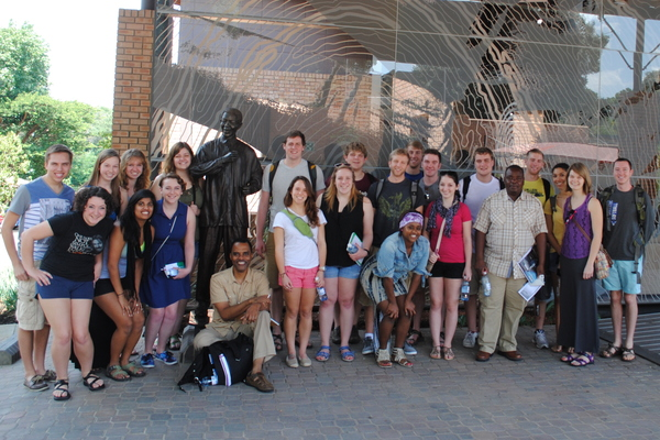"Our group posing in front of a statue of Nelson Mandela outside of the Nelson Mandela Memory Centre in Johannesburg.<a href=""/reason/images/522573_orig.jpg"" title=""High res"">&prop;</a>"