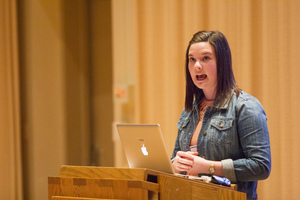 A communication studies senior presents her speech during the annual Student Research Symposium.