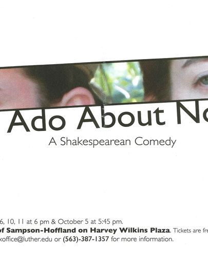 "Poster for the Luther College production of ""Much Ado About Nothing"""