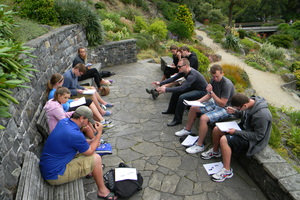 Professor and students in a class discussion while on the study abroad course Sport, Media, and Society in New Zealand.