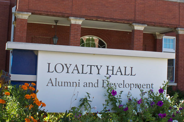 Exterior of the entrance to Loyalty Hall in which the Development office resides.