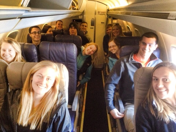 "Part of our group before the plane takes off for Denver!<a href=""/reason/images/518603_orig.jpg"" title=""High res"">&prop;</a>"