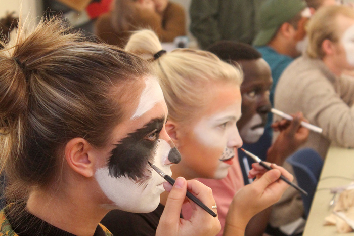 Luther students take a makeup class with Professor Jeff Dintamin.