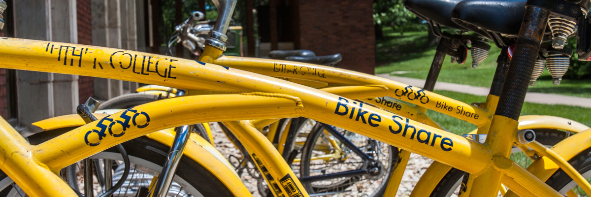 The rack of Luther bikes used for the campus bike share program.