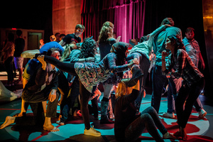"Luther students dance with performers in ""The Invitation Game"""