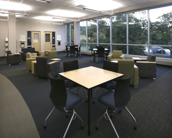 Student study lounge adjacent to faculty offices create a collaborative learning environment.