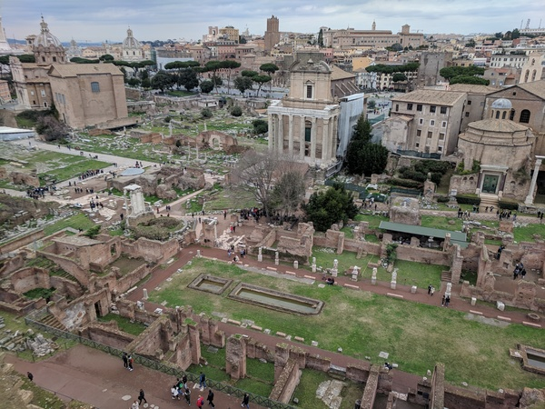 "What is left of Rome's first marketplace, the Forum. Photo by Isaac Heins '18.<a href=""/reason/images/801647_orig.jpg"" title=""High res"">∝</a>"