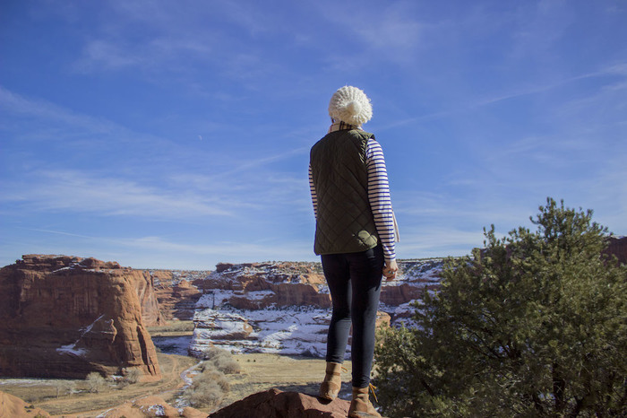 Luther student looks out over landscape surrounding Gallup, NM.