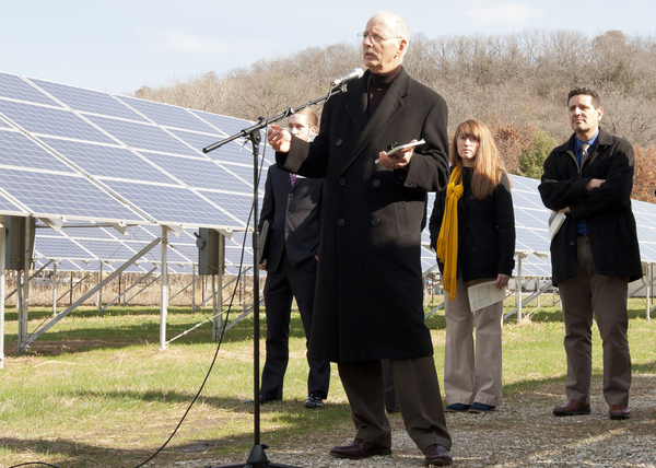 Larry Grimstad speaking at the solar field dedication