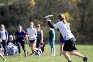 A Freya team member catches the frisbee.