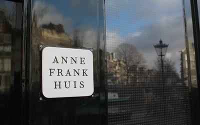 Sign near the entrance of the Anne Frank House.