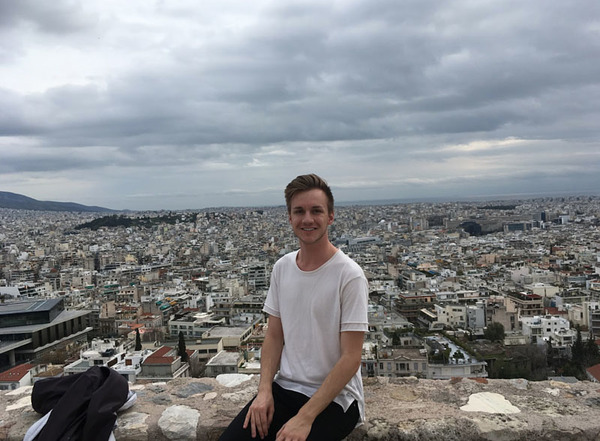 Wyatt Anians on top of the Acropolis in Athens
