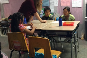 Alanna Spencer student teaching in elementary grade level at village school of Tuntuliak, AK (LKSD).