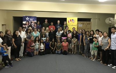A picture of everyone with their hosts families at El Cultural in Trujillo!