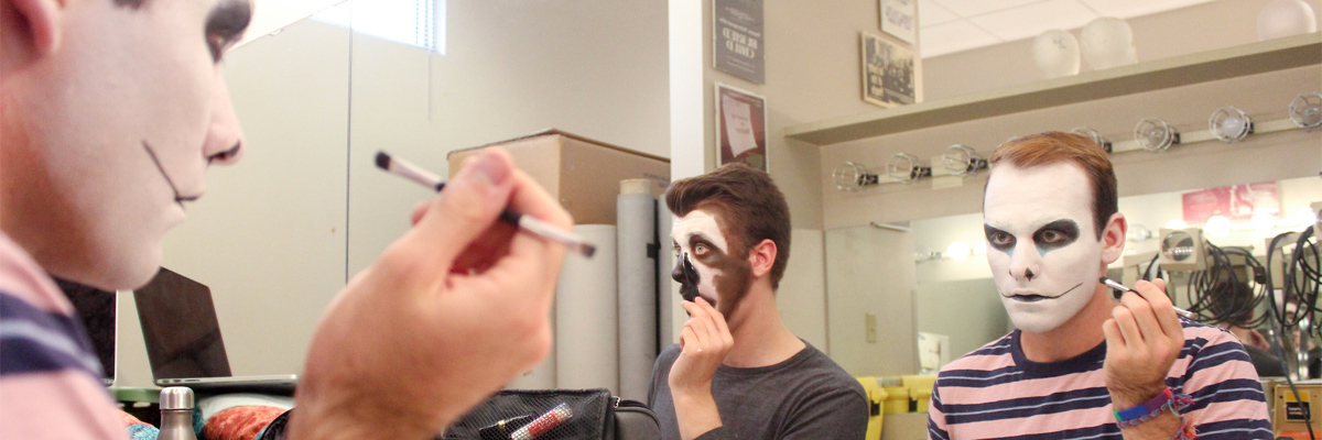 Students practice animal makeup in Art of Illusion, Costuming and Makeup with Professor Jeff Dintaman.