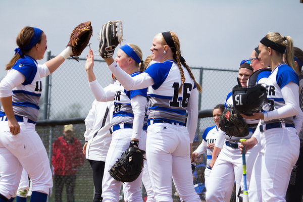 Luther's softball team beats Central College in a double header on April 23, 2016