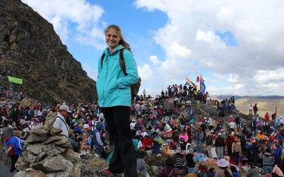 Me on a mountain top in Huancayo, Peru during a festival for Mother Earth.