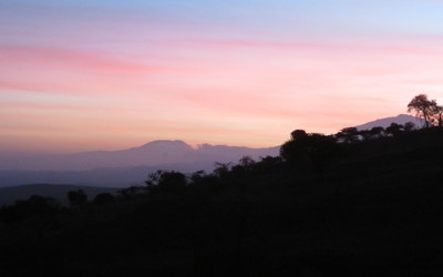 An early morning sunrise looking out at Mount Kilimanjaro