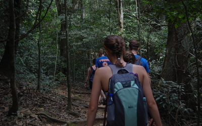 Students enjoy a hike through the dense rainforest of Kakum National Park