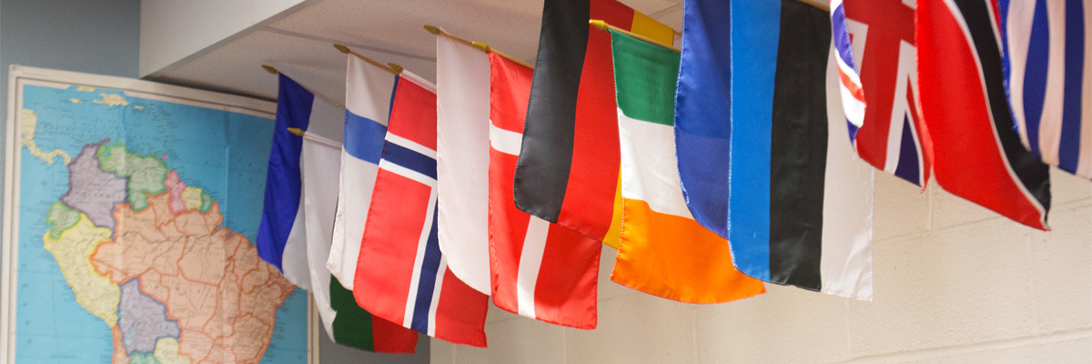 flags in the Language Learning Center