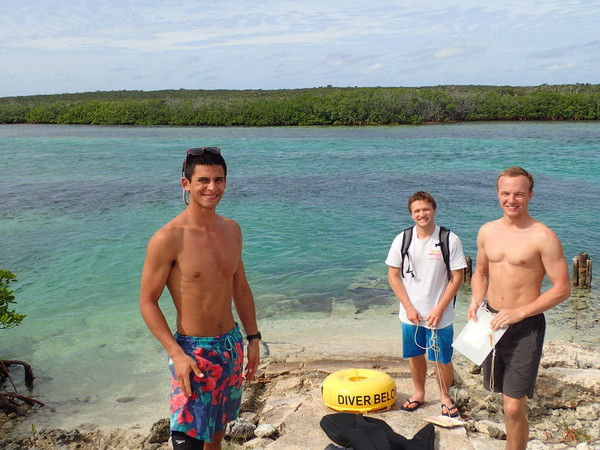 "Andres, Noah and Brain at Pigeon Creek collecting data for their research project.<a href=""/reason/images/800715_orig.jpg"" title=""High res"">∝</a>"