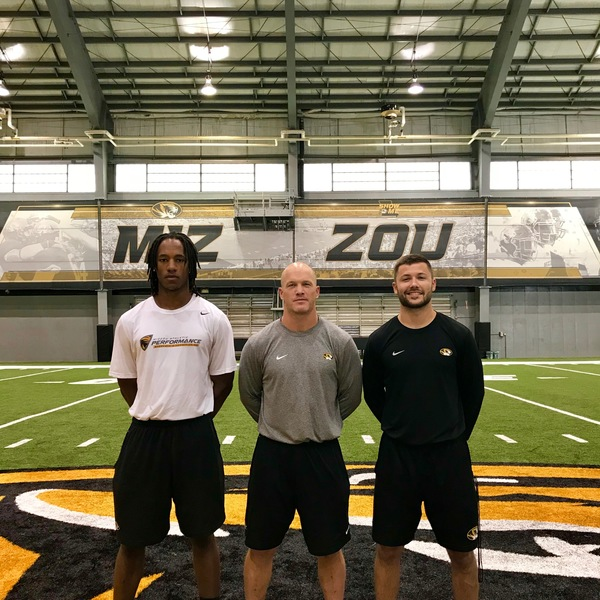 Intern Dante Joseph '18 (left), Adam Davis '04 (center) Director of Applied Performance - Football, and Del Ciucci '14 (right) Athletic Performance Assistant Coach at the University of Missouri.