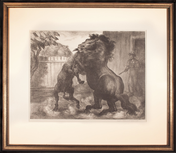 """Stallion and Jack Fighting,"" by John Steuart Curry (1897-1946), lithograph, 1943<a href=""/reason/images/779718_orig.jpg"" title=""High res"">∝</a>"