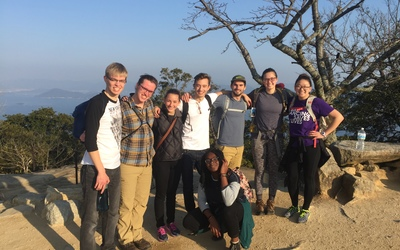 A group of students on top of Mt. Misen.