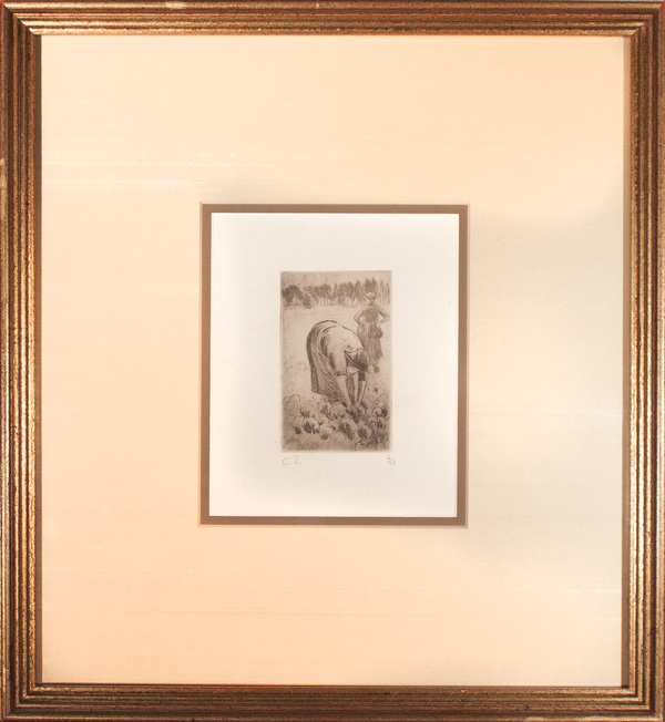 """Femme Ceuillant des Choux,"" by Camille Pissarro (1830-1903), etching, no. 6 of 24<a href=""/reason/images/779720_orig.jpg"" title=""High res"">∝</a>"