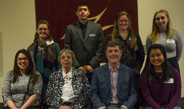 "Luther College students (left to right) Italee Castellon, Anneleise Frie, Colten Lowley, Marissa Kruse, Brooke Johnson, and Linh Luong celebrate with Kathy Anderson and Scott Anderson (center), who established the Steven Mark Anderson Scholarship at Luther College and presented the awards during the 2018 TRIO Celebration Banquet.<a href=""/reason/images/813722_orig.jpg"" title=""High res"">∝</a>"