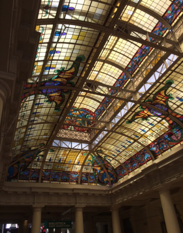 The stained glass ceiling in the library