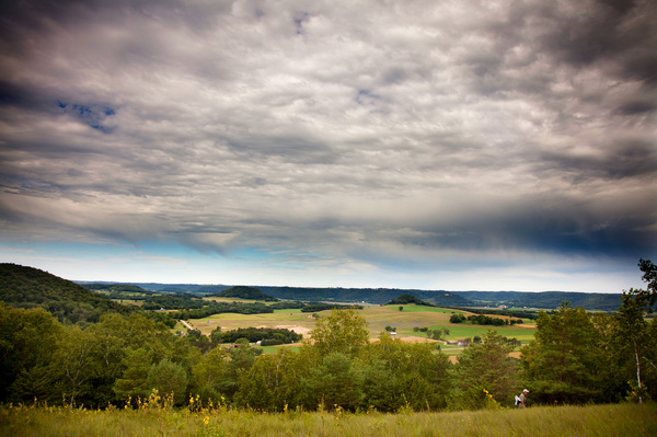 A wide view from a hillside prairie near Decorah.