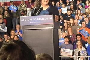 Casey DeLima (15) introduces Bernie Sanders